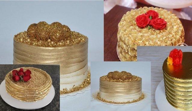 Como decorar bolos dourados com chantilly simples - Receitas Fáceis e Deliciosas